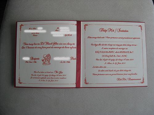 Carton invitation mariage vietnamien
