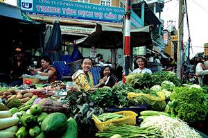 Marché de rue a Saigon
