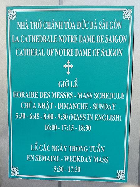 horaires messes cathédrale saigon